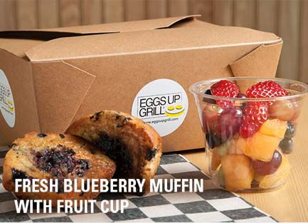 fresh-blueberry muffin with fruit cup