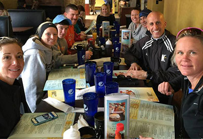 Family gathering at Eggs Up Grill