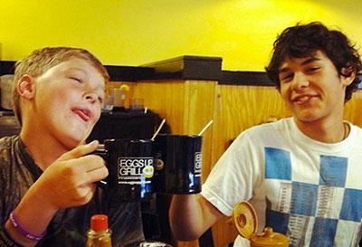 Boys drinking hot cocoa
