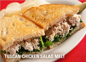 tuscan chicken salad melt